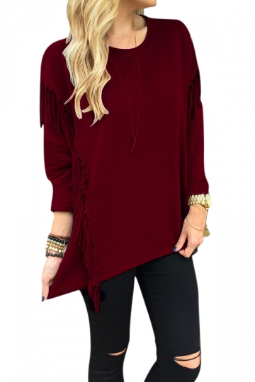 Womens Crew Neck Long Sleeve Fringe Slit Side Sweatshirt Ruby