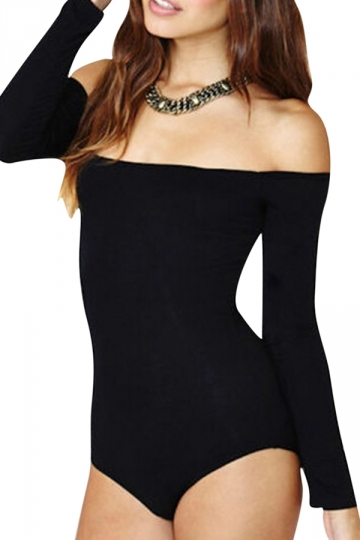 Womens Plain Boat Neck Off Shoulder Long Sleeve Elastic Bodysuit Black