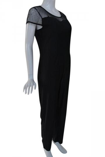 Womens Crew Neck Short Sleeve Sheer Mesh Patchwork Jumpsuit Black