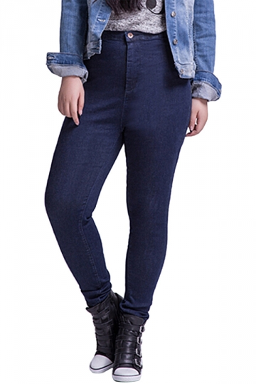 Womens Plus Size High Waist Elastic Denim Leggings Navy Blue