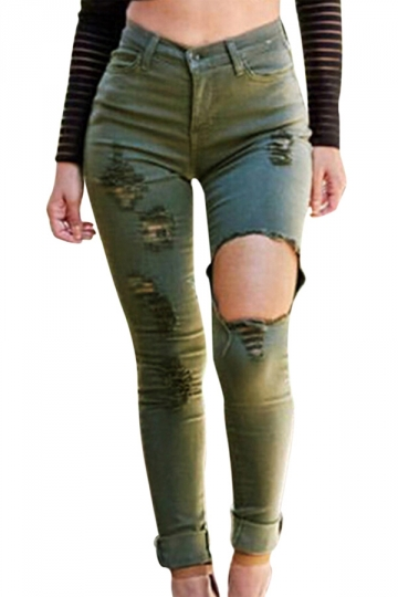 Womens Stylish Ripped High Waist Elastic Denim Leggings Green