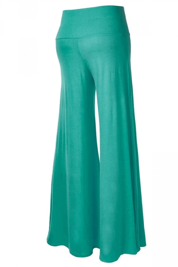 Womens Stylish Plain Wide Leg Palazzo Pants Green
