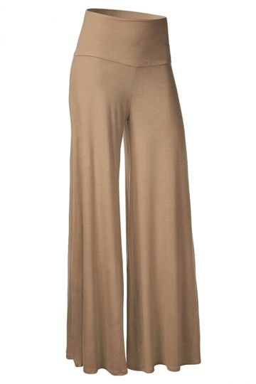 Womens Stylish Plain Wide Leg Palazzo Pants Khaki