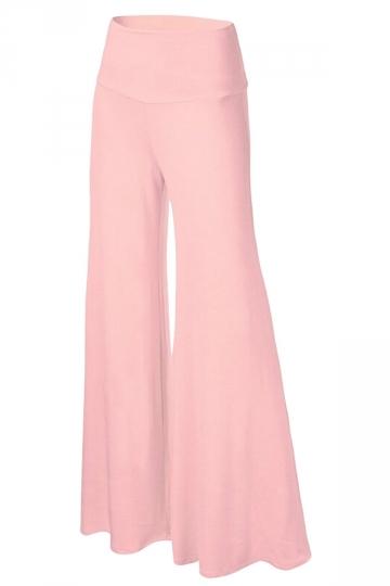 Womens Stylish Plain Wide Leg Palazzo Pants Pink Pink Queen