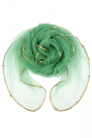 Womens Plain Organza Golden Beaded Edging Thin Soft Scarf Light Green
