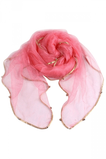 Womens Plain Organza Golden Beaded Edging Thin Scarf Watermelon Red