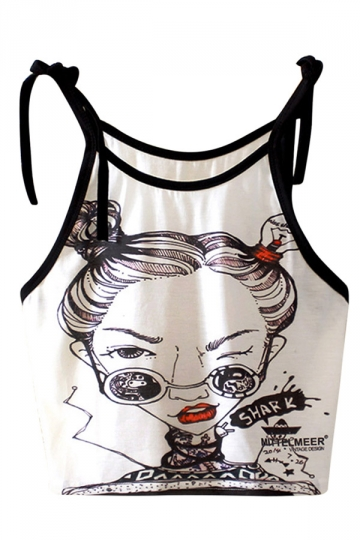 Womens Sleeveless Character Printed Strap Crop Camisole Top White