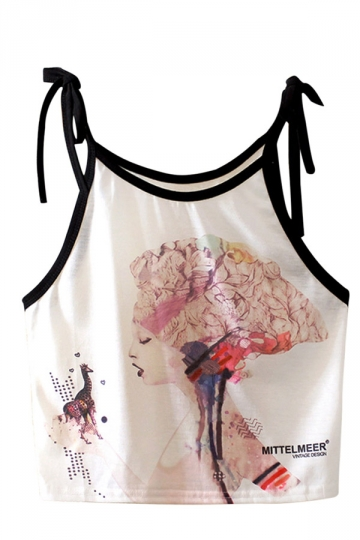 Womens Sleeveless Fantasy Girl Printed Strap Crop Camisole Top White