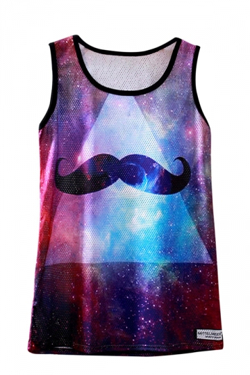 Womens Sleeveless Mesh Beard Galaxy Print Tank Top Purple