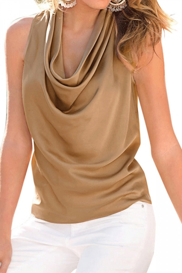 Womens Plain Sleeveless Pile Collar Chiffon Blouse Khaki