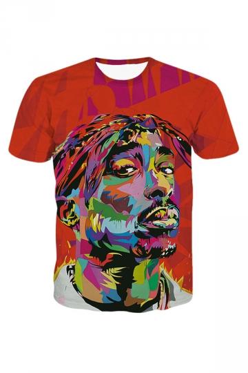 Womens 2PAC Tupac 3D Printed Crewneck T-Shirt Red