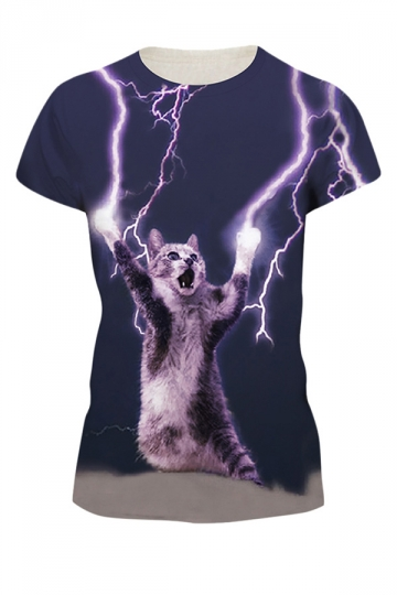Womens Lightning Cat 3D Printed Short Sleeve T-Shirt Blue