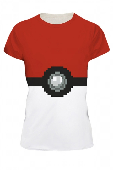 Womens Pokemon 3D Printed Crewneck Short Sleeve T-Shirt Red