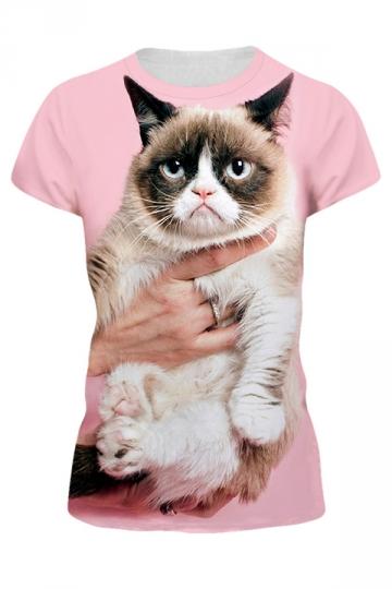 Womens Grumpy Cat 3D Printed Pullover Short Sleeve T-Shirt Pink