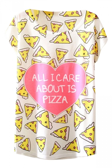 Womens Crew Neck Short Sleeve Heart Pizza Print Loose T-shirt White
