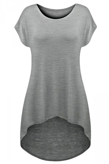 Womens Plain Crew Neck Short Sleeve High Low T-shirt Gray