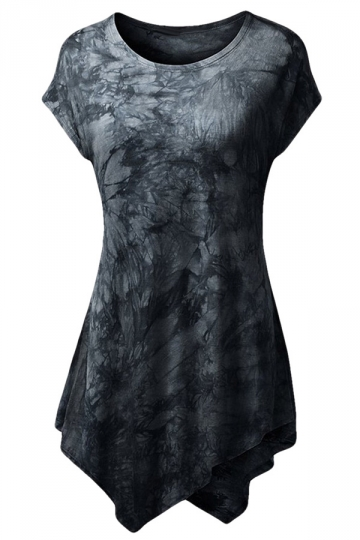 Womens Short Sleeve Crew Neck Tie-dye Asymmetric Hem T-shirt Black