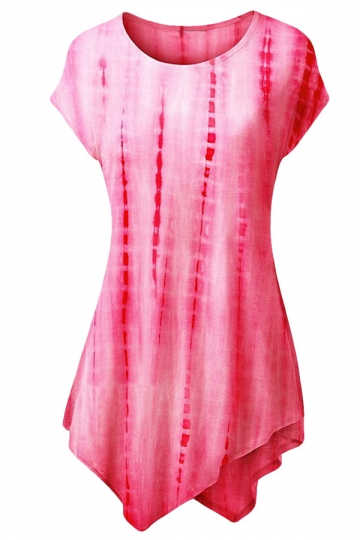 Womens Tie-dye Short Sleeve Crew Neck Asymmetric Hem T-shirt Rose Red