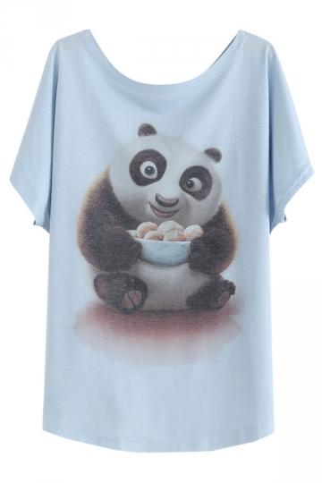 Womens Round Neck Batwing Sleeve Kungfu Panda Print Loose T-shirt Blue