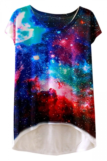 Womens Short Sleeve Crew Neck Galaxy Printed High Low T-shirt Blue