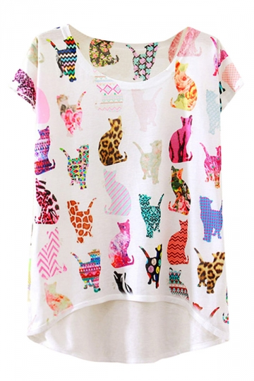 Womens Short Sleeve Crew Neck Animals Printed High Low T-shirt White