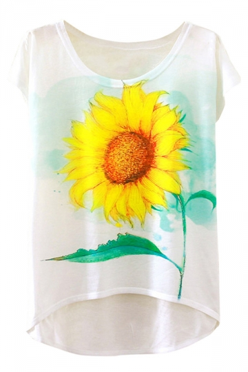 Womens Short Sleeve Crew Neck Sunflower Printed High Low T-shirt White