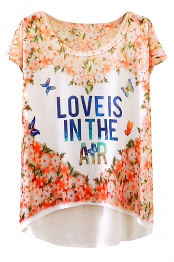 Womens Short Sleeve Butterfly Floral Printed High Low T-shirt Pink