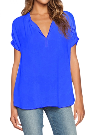 Womens V Neck See Through Short Sleeve Chiffon Blouse Sapphire ...
