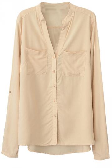Womens Plain V Neck Single-breasted Long Sleeve Blouse Beige White