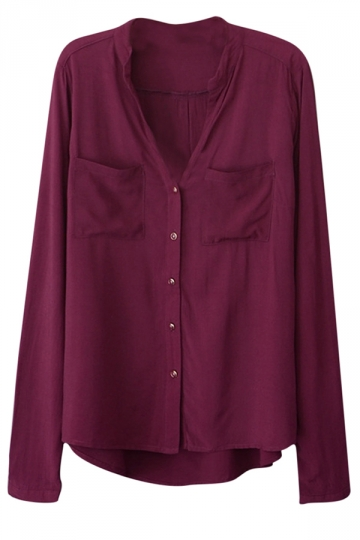 Womens Plain V Neck Single-breasted Long Sleeve Blouse Ruby