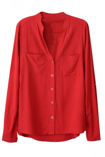 Womens Plain V Neck Single-breasted Long Sleeve Blouse Red