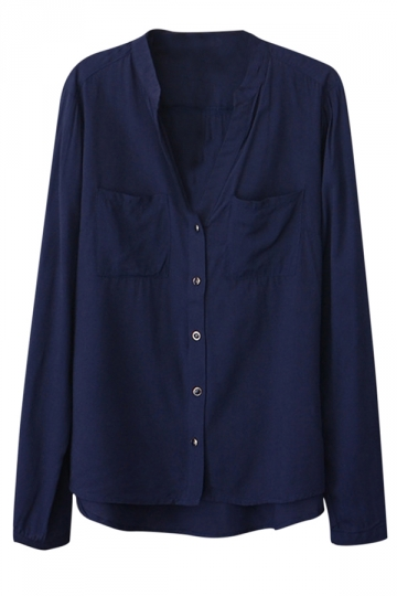 Womens Plain V Neck Single-breasted Long Sleeve Blouse Navy Blue
