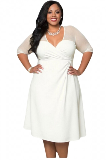 Womens Deep V-Neck Half Sleeve Plus Size Dress White - PINK QUEEN