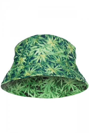Womens Stylish Weed Light 3D Print Cotton Padded Bucket Hat Green