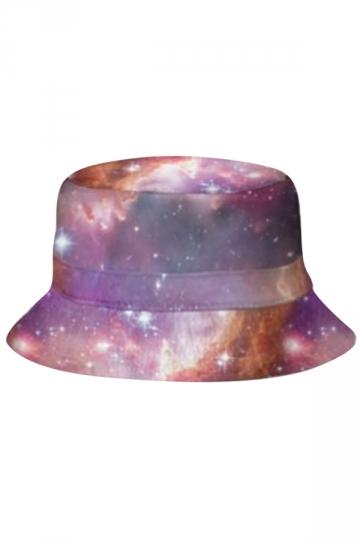 Womens Stylish Galaxy 3D Print Cotton Padded Bucket Hat Purple