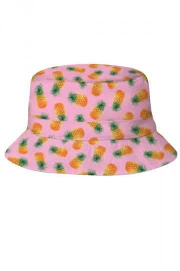 Womens Stylish Pineapple 3D Print Cotton Padded Bucket Hat Pink