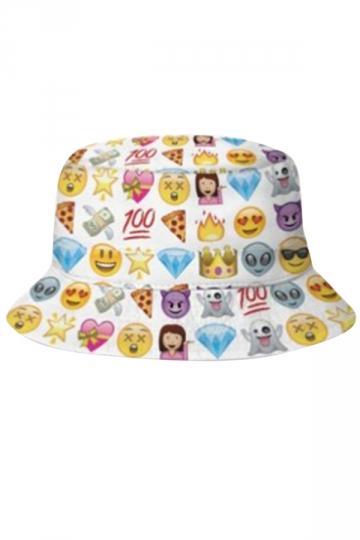 Womens Stylish Diamond Pizza Emoji 3D Print Bucket Hat White
