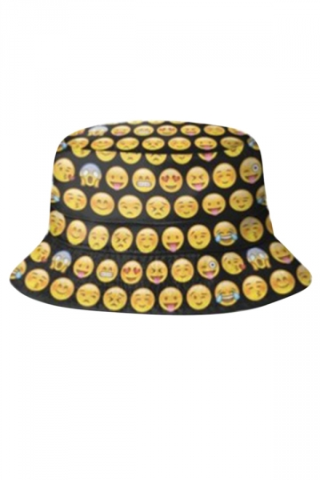 Womens Stylish Emoticon 3D Print Cotton Padded Bucket Hat Yellow