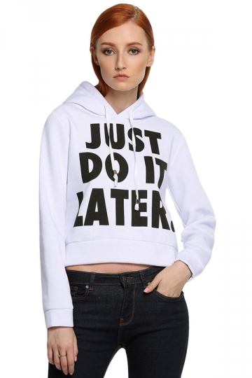 Womens Just Do It Later Crop Short Length Sweatshirt Hoodie White