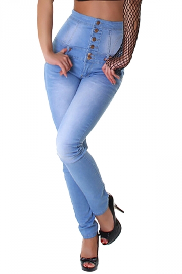 Womens High Waist Bleached Slimming Denim Leggings Blue