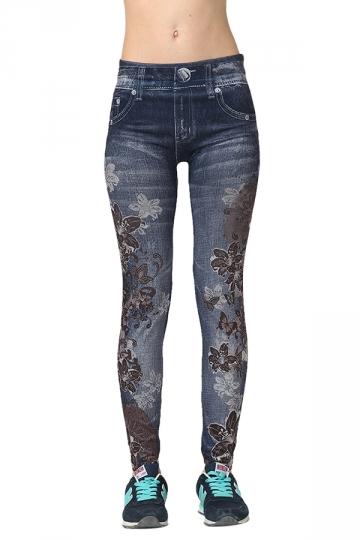 Womens Slimming Bleached Floral Printed Denim Leggings Blue