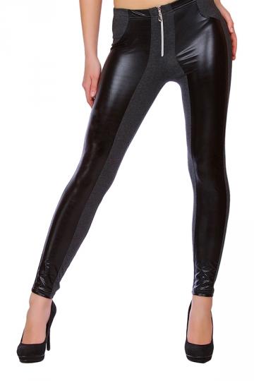 Womens PU Leather Elastic Zipper Ankle-length Leggings Dark Grey