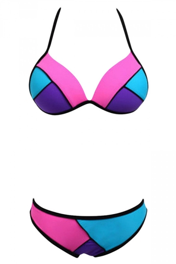 Womens Color Block String Bikini Top & Vintage Swimsuit Bottom Pink