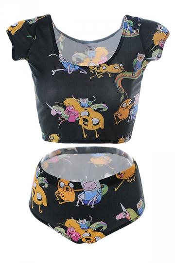 Womens Adventure Time Printed Tankini Top & Swimwear Bottom Black