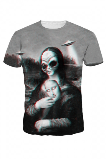 Womens Short Sleeve Crewneck Alien Lisa Digital Printed T-shirt Gray