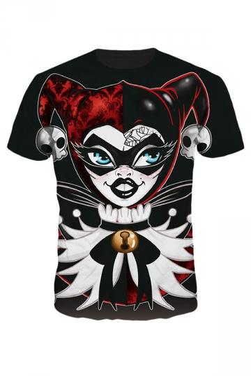 Womens Short Sleeve Crewneck Ms. Joker Digital Printed T-shirt Black