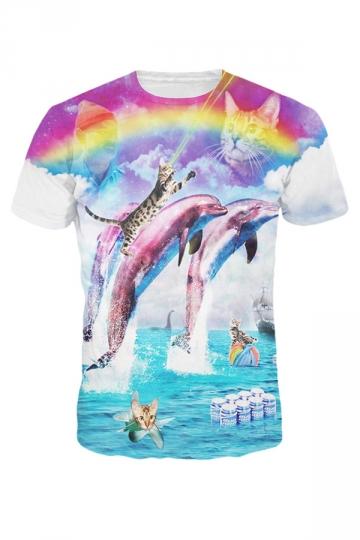 Womens Short Sleeve Crewneck Rainbow Dolphin Kitty Print T-shirt Blue