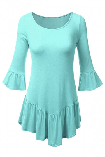 Women Long Bell Frill Shirring Long Sleeve MINT T-shirt Light Green