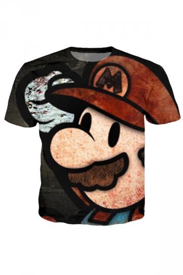 Womens Crew Neck Short Sleeve 3D Mario Print T-shirt Beige White