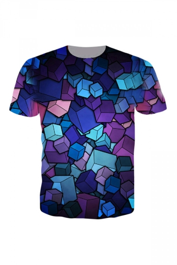 Womens Crewneck Short Sleeve Stereoscopic Box 3D Print T-shirt Purple
